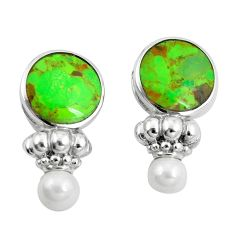 925 sterling silver 15.69cts green copper turquoise pearl dangle earrings c10593