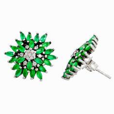 925 sterling silver 4.61cts green emerald (lab) topaz dangle earrings c9638