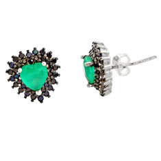 925 sterling silver 5.23cts green emerald (lab) topaz earrings jewelry c9312
