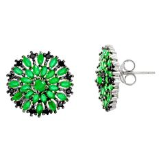 925 sterling silver 5.52cts green emerald (lab) topaz stud earrings c9212