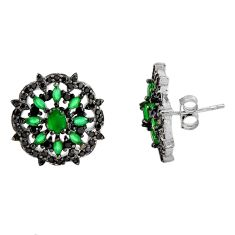 925 sterling silver 5.54cts green emerald (lab) topaz stud earrings c9216