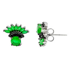 925 sterling silver 3.62cts green emerald (lab) topaz stud earrings c9224