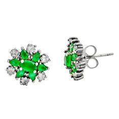 925 sterling silver 4.33cts green emerald (lab) topaz stud earrings c9235