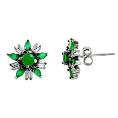 925 sterling silver 3.50cts green emerald (lab) topaz stud earrings c9250