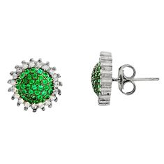925 sterling silver 4.56cts green emerald (lab) topaz stud earrings c9264