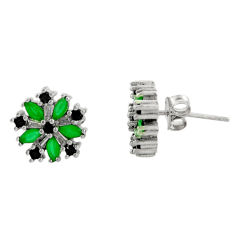 925 sterling silver 4.23cts green emerald (lab) topaz stud earrings c9509