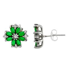 925 sterling silver 3.75cts green emerald (lab) topaz stud earrings c9608