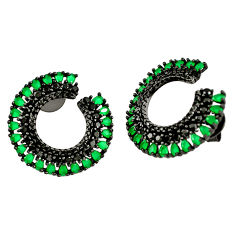 925 sterling silver green emerald quartz topaz rhodium stud earrings c19430