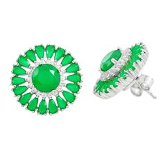 925 sterling silver green emerald quartz white topaz stud earrings c19549