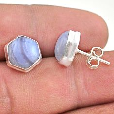 925 sterling silver 7.42cts hexagon natural blue lace agate earrings t48298