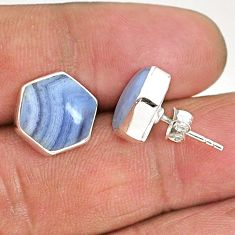 925 sterling silver 9.27cts hexagon natural blue lace agate stud earrings r93653