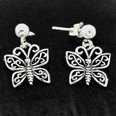 925 sterling silver 3.02gms indonesian bali style solid butterfly earrings t6268