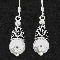 925 sterling silver 4.25gms indonesian bali style solid dangle earrings t6279