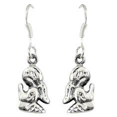 925 sterling silver indonesian bali style solid prayer angel earrings c23031