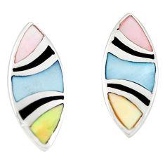 925 sterling silver multi color blister pearl enamel stud earrings a75887 c14364
