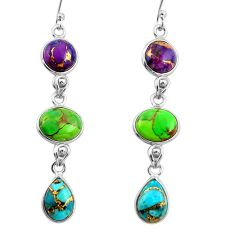 925 sterling silver 14.56cts multi color copper turquoise dangle earrings r26804