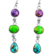 925 sterling silver 14.53cts multi color copper turquoise dangle earrings r26807