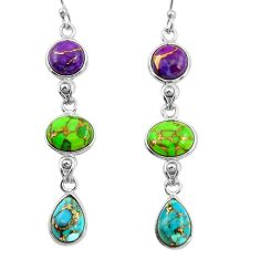 925 sterling silver 14.56cts multi color copper turquoise dangle earrings r26810