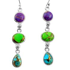 925 sterling silver 14.12cts multi color copper turquoise dangle earrings r26814