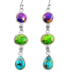925 sterling silver 15.20cts multi color copper turquoise dangle earrings r26817