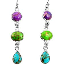 925 sterling silver 15.31cts multi color copper turquoise dangle earrings r26820