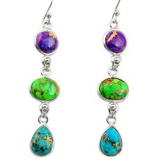 925 sterling silver 14.53cts multi color copper turquoise dangle earrings r27004