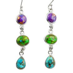 925 sterling silver 15.14cts multi color copper turquoise dangle earrings r41138