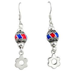 925 sterling silver multi color enamel ball earrings jewelry c22420