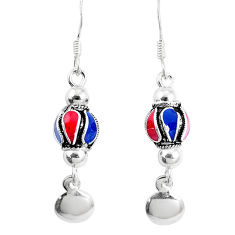 925 sterling silver 3.26gms multi color enamel dangle earrings jewelry c20237