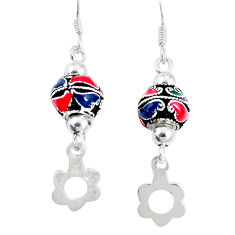 925 sterling silver 5.48gms multi color enamel earrings jewelry c20246