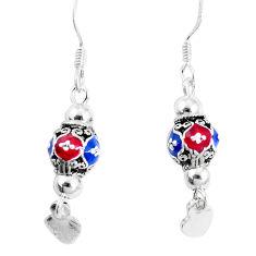 925 sterling silver 3.26gms multi color enamel earrings jewelry c20249