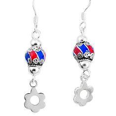 925 sterling silver 3.48gms multi color enamel earrings jewelry c20260