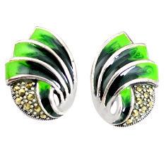 925 sterling silver 7.48gms multi color marcasite enamel earrings jewelry c21444