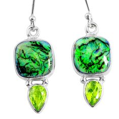 925 sterling silver 8.66cts multi color opal peridot dangle earrings r62891