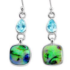 925 sterling silver 8.80cts multi color opal topaz dangle earrings r62895