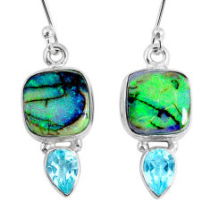 925 sterling silver 8.80cts multi color opal topaz dangle earrings r62899
