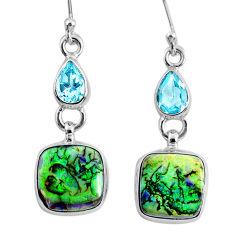 925 sterling silver 9.04cts multi color opal topaz dangle earrings r62910