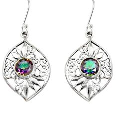 925 sterling silver 5.53cts multi color rainbow topaz dangle earrings d40092