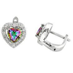 925 sterling silver multi color rainbow topaz white topaz stud earrings c23006