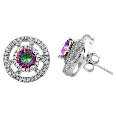 925 sterling silver multi color rainbow topaz white topaz stud earrings c23014