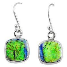 925 sterling silver 6.93cts multi color sterling opal dangle earrings r70168