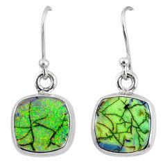 925 sterling silver 6.61cts multi color sterling opal dangle earrings r70173
