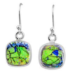 925 sterling silver 6.61cts multi color sterling opal dangle earrings r70176