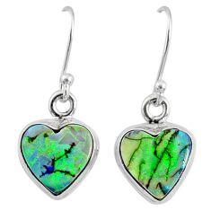 925 sterling silver 6.21cts multi color sterling opal heart earrings r70184