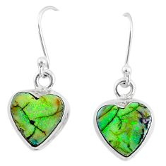 925 sterling silver 6.23cts multi color sterling opal heart earrings r70193