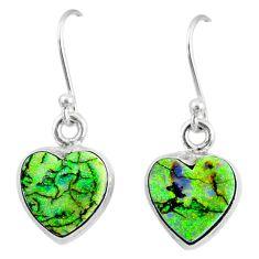 925 sterling silver 6.61cts multi color sterling opal heart earrings r70199