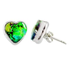 925 sterling silver 5.55cts multi color sterling opal heart stud earrings r62849