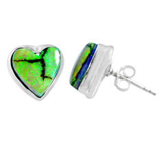 925 sterling silver 5.22cts multi color sterling opal heart stud earrings r62914