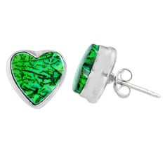 925 sterling silver 5.22cts multi color sterling opal heart stud earrings r62919