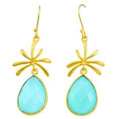 Handmade 16.88cts natural aqua chalcedony 14k gold dangle earrings t16384